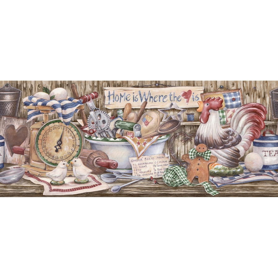 Allen Roth 8 7 8 Blue Country Kitchen Shelf Prepasted Wallpaper