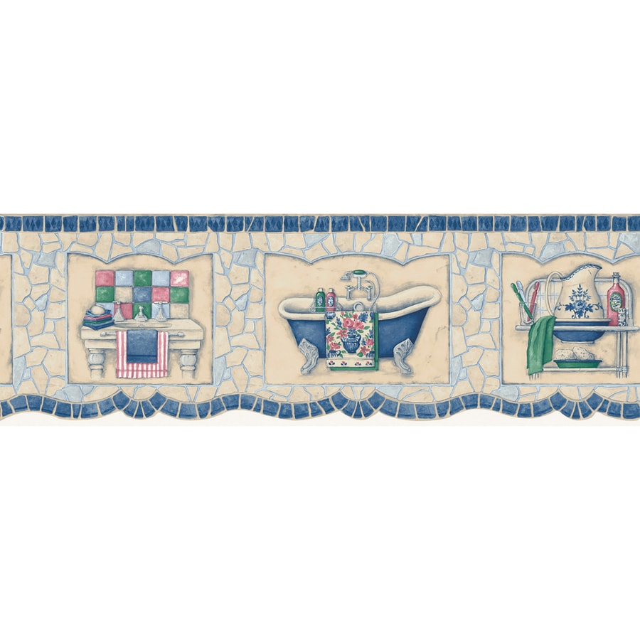 Blue bathroom wallpaper border - Allen Roth 6 3 4 Blue Mosaic Bath Tub Prepasted Wallpaper Border