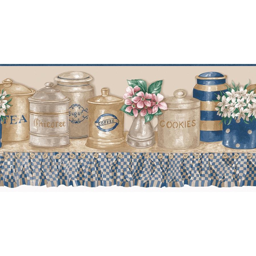 """shop allen + roth 10"""" blue and beige kitchen jars prepasted"""