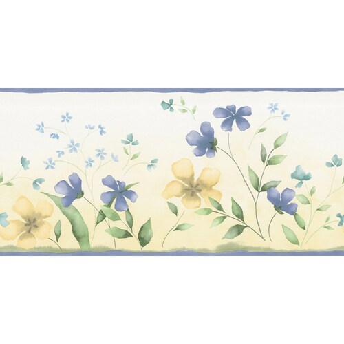 """Waverly 10-1/4"""" Blue And Yellow Fresh Picked Prepasted ..."""