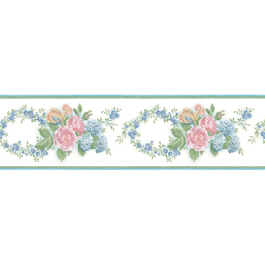 "allen + roth 6"" Pastel Floral Trail Prepasted Wallpaper Border"