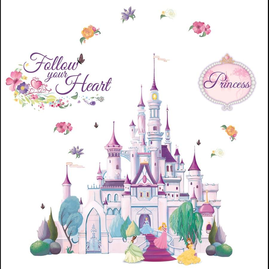shop disney princess castle mini mural at lowes com disney princess castle mini mural