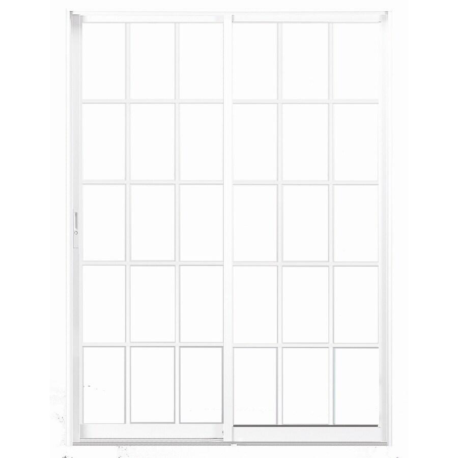BetterBilt 420 Series 72-in Grid Glass Aluminum Sliding Patio Door with Screen