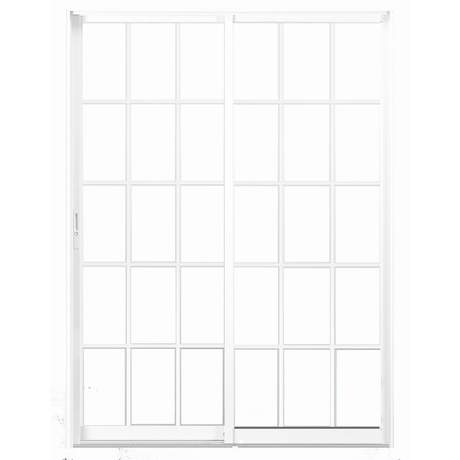 BetterBilt 470 Series 60-in Grid Glass Aluminum Sliding Patio Door with Screen