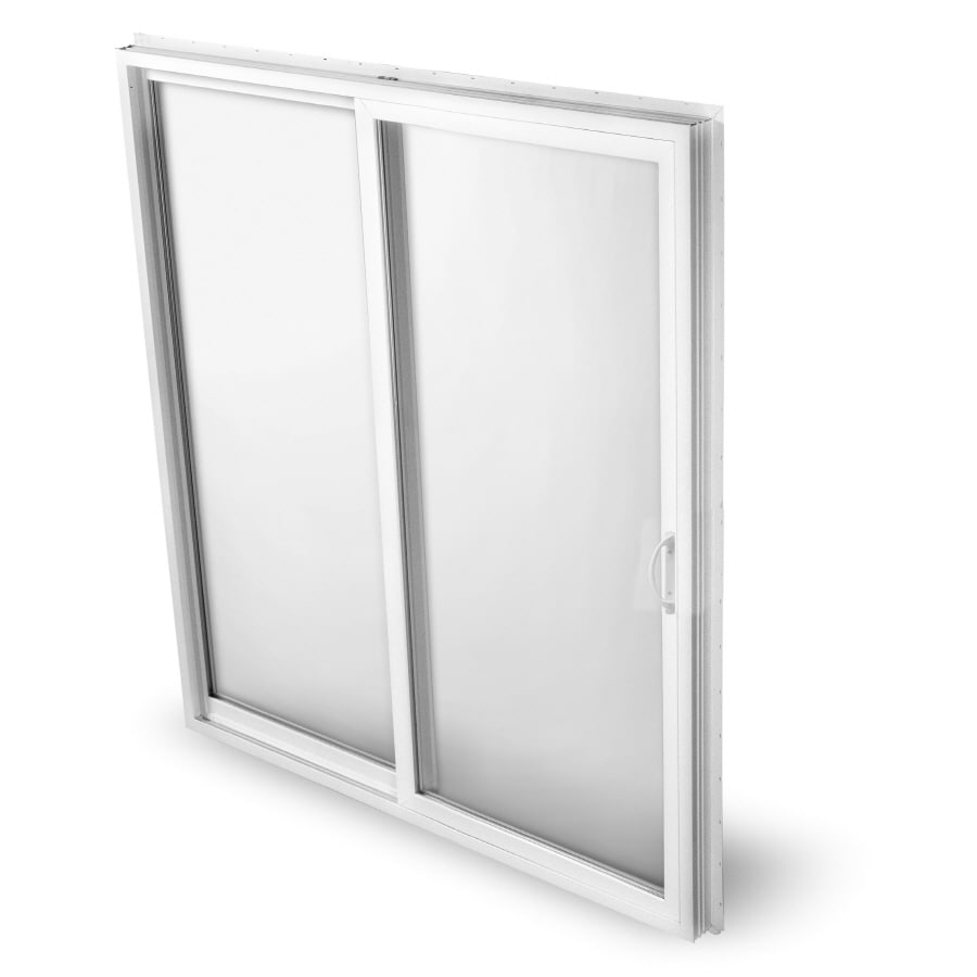 BetterBilt 570 Series 72-in Clear Glass White Aluminum Sliding Patio Door with Screen