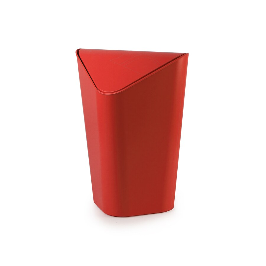 Umbra Corner 10 Liters Red Plastic Trash Can with Lid