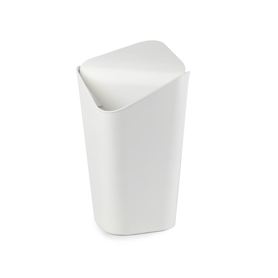 Umbra Corner 10 Liters White Plastic Trash Can with Lid