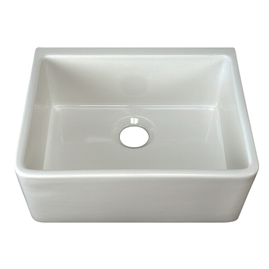 Shop barclay x white single basin fireclay apron front farmhouse residential - Kitchen sinks apron front ...