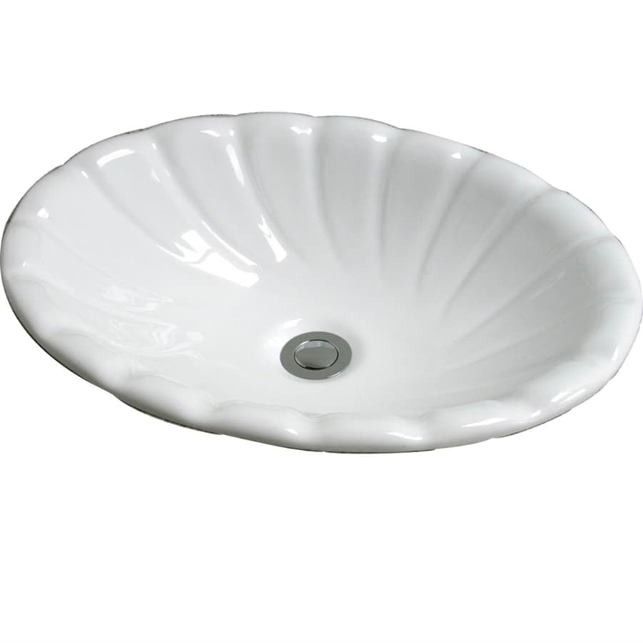 Barclay Corona White Drop-In Oval Bathroom Sink with Overflow