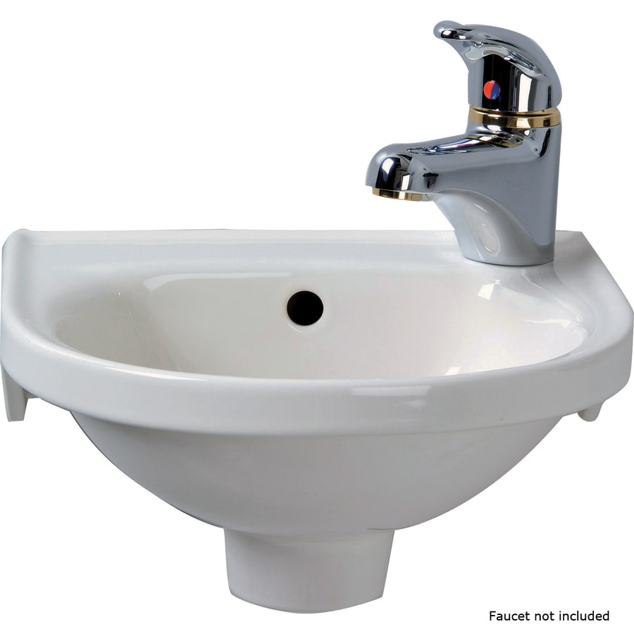 Barclay Rosanna White Wall-Mount Round Bathroom Sink with Overflow