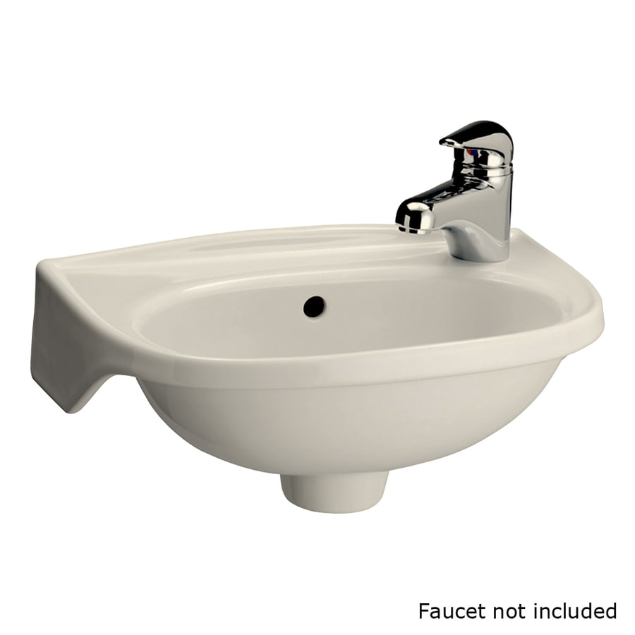 Barclay Bisque Wall-Mount Oval Bathroom Sink with Overflow