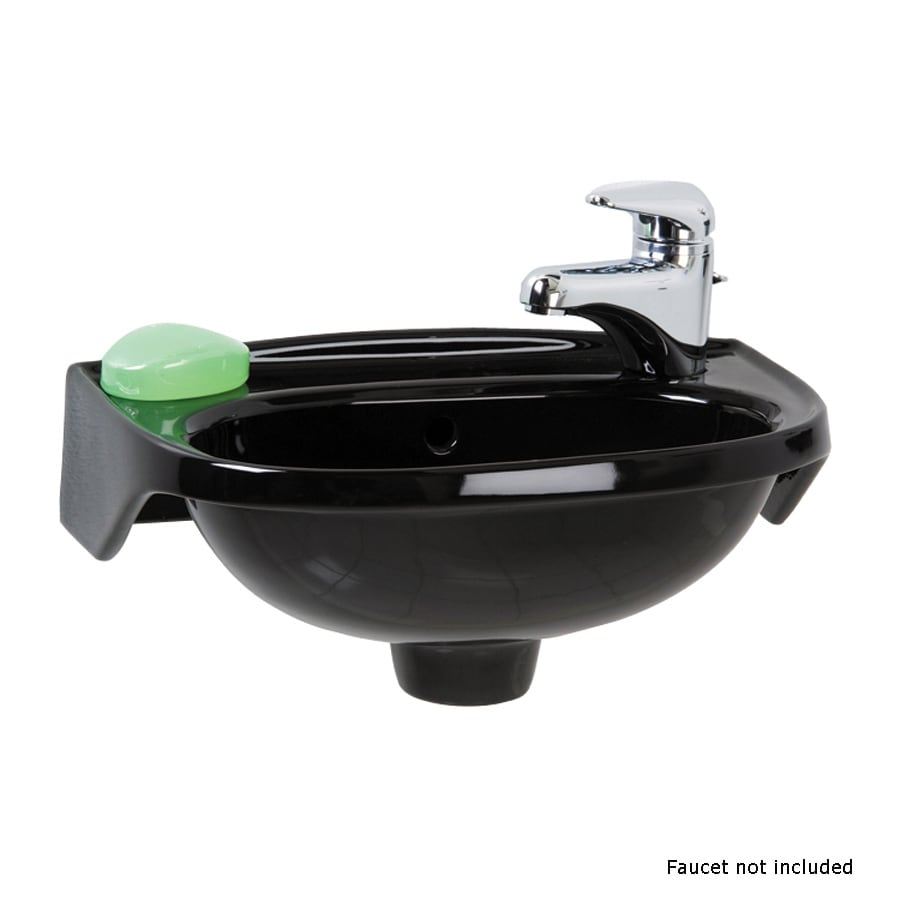 Barclay Black Wall-Mount Oval Bathroom Sink with Overflow
