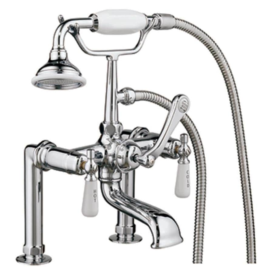 Barclay Brilliant Polished Chrome 3-Handle Bathtub and Shower Faucet with Handheld Showerhead