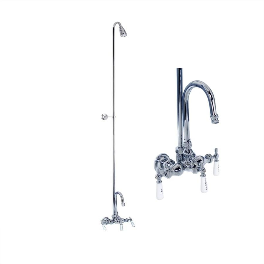 Barclay Brilliant Polished Chrome 3-Handle Bathtub and Shower Faucet with Single Function Showerhead