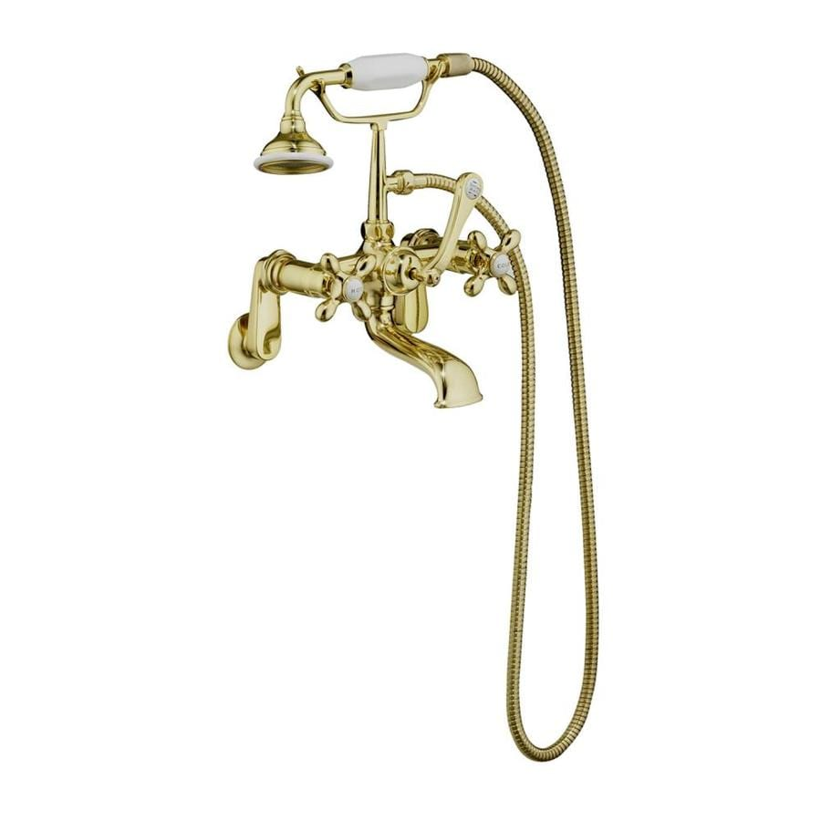 Barclay Rich Polished Brass 3-Handle Bathtub and Shower Faucet with Handheld Showerhead