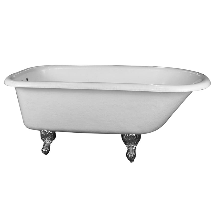 Barclay Acrylic Oval Clawfoot Bathtub with Back Center Drain (Common: 30-in x 60-in; Actual: 24.5-in x 30-in x 60-in)