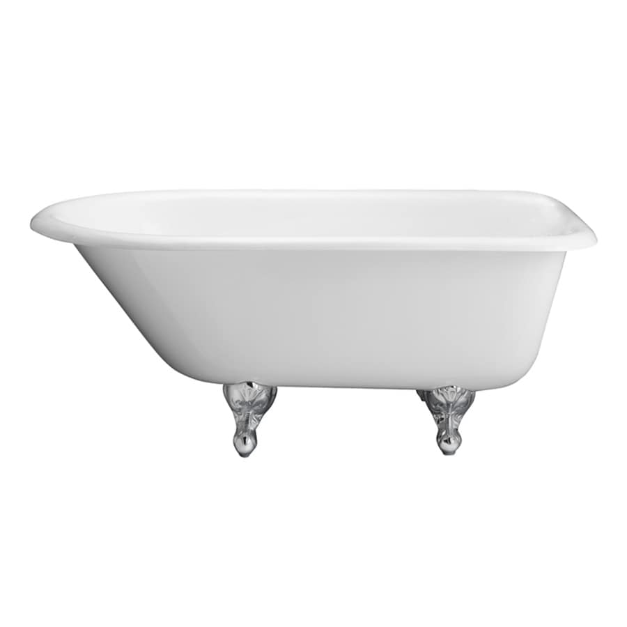 Barclay 68-in White Cast Iron Clawfoot Bathtub with Back Center Drain