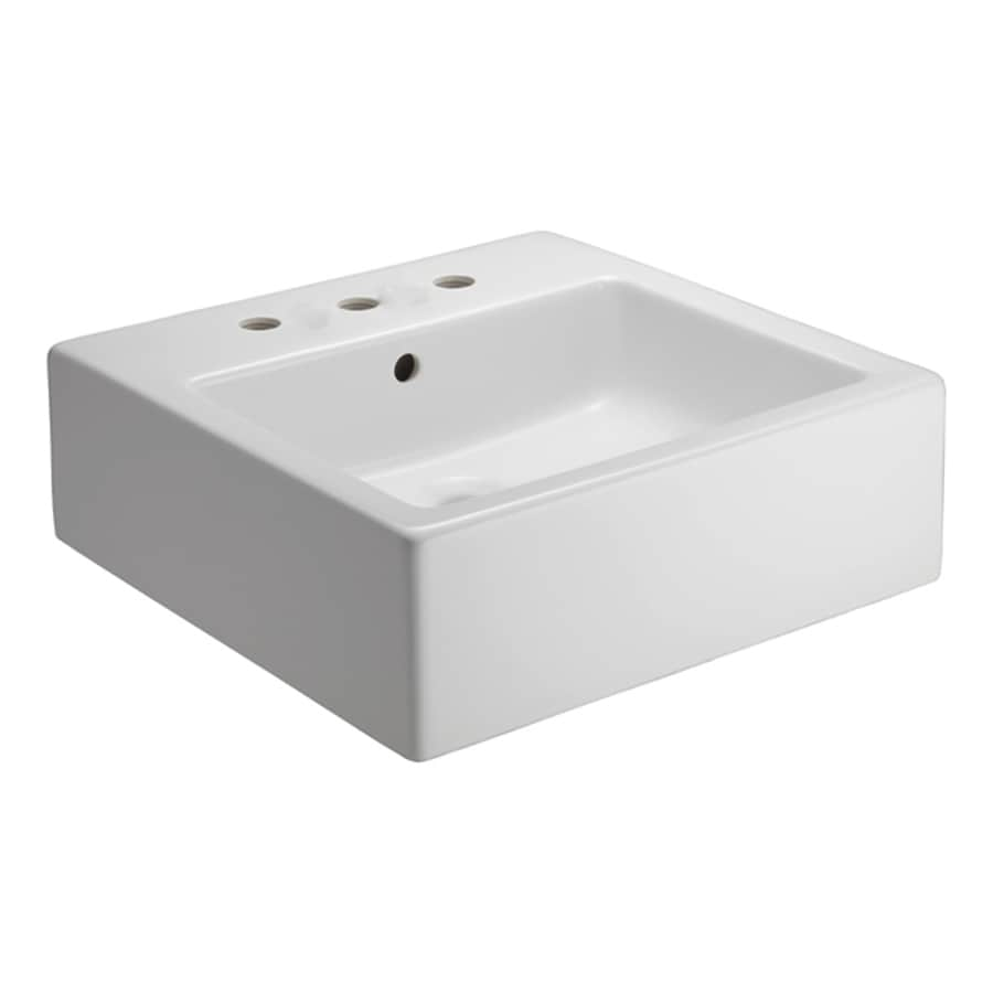 Barclay White Fire Clay Vessel Square Bathroom Sink with Overflow