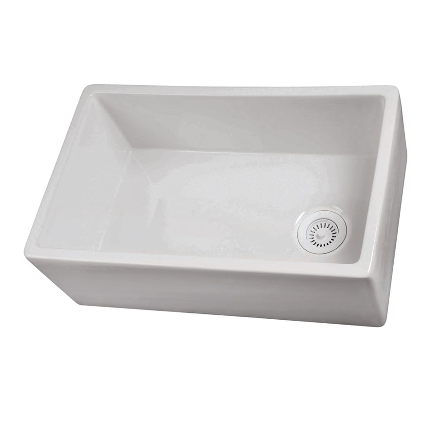 White Apron Kitchen Sink : ... White Single-Basin Fireclay Apron Front/Farmhouse Residential Kitchen