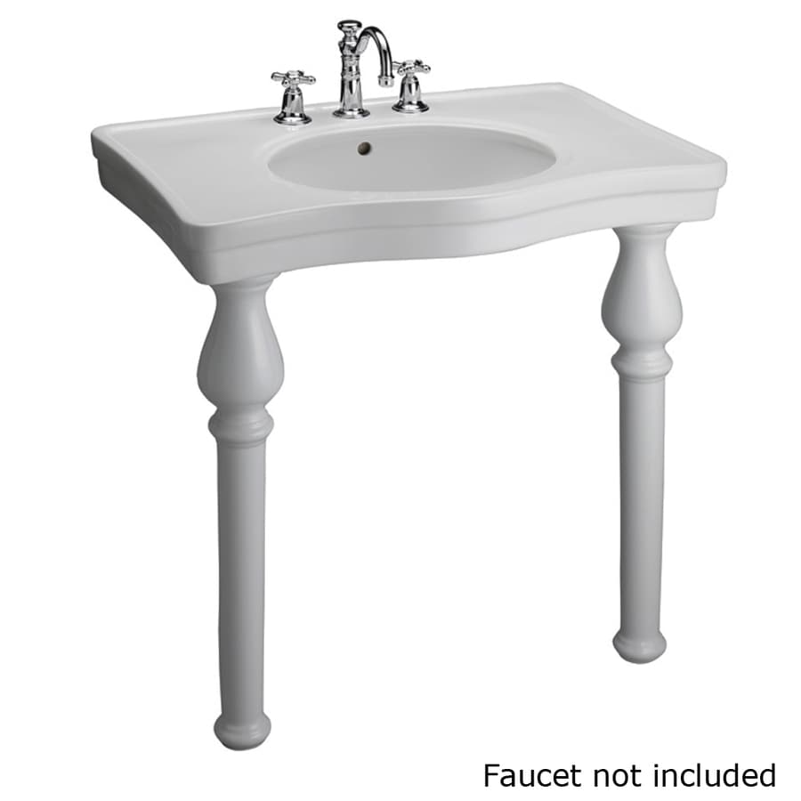 Barclay White Wall Mount Rectangular Bathroom Sink With Overflow