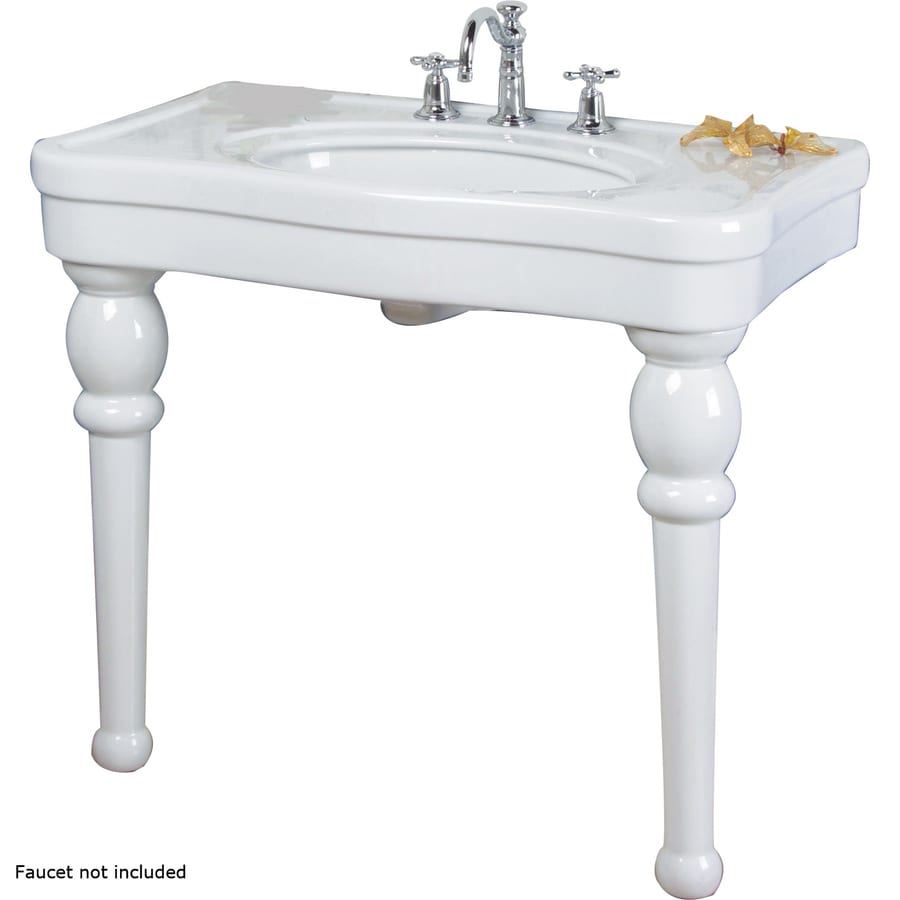 Barclay White Fire Clay Wall-Mount Rectangular Bathroom Sink with Overflow