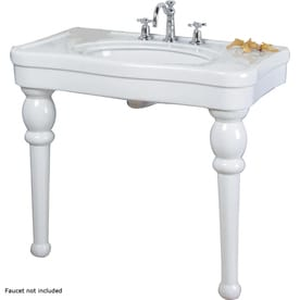 Barclay White Fire Clay Wall Mount Rectangular Bathroom Sink With Overflow