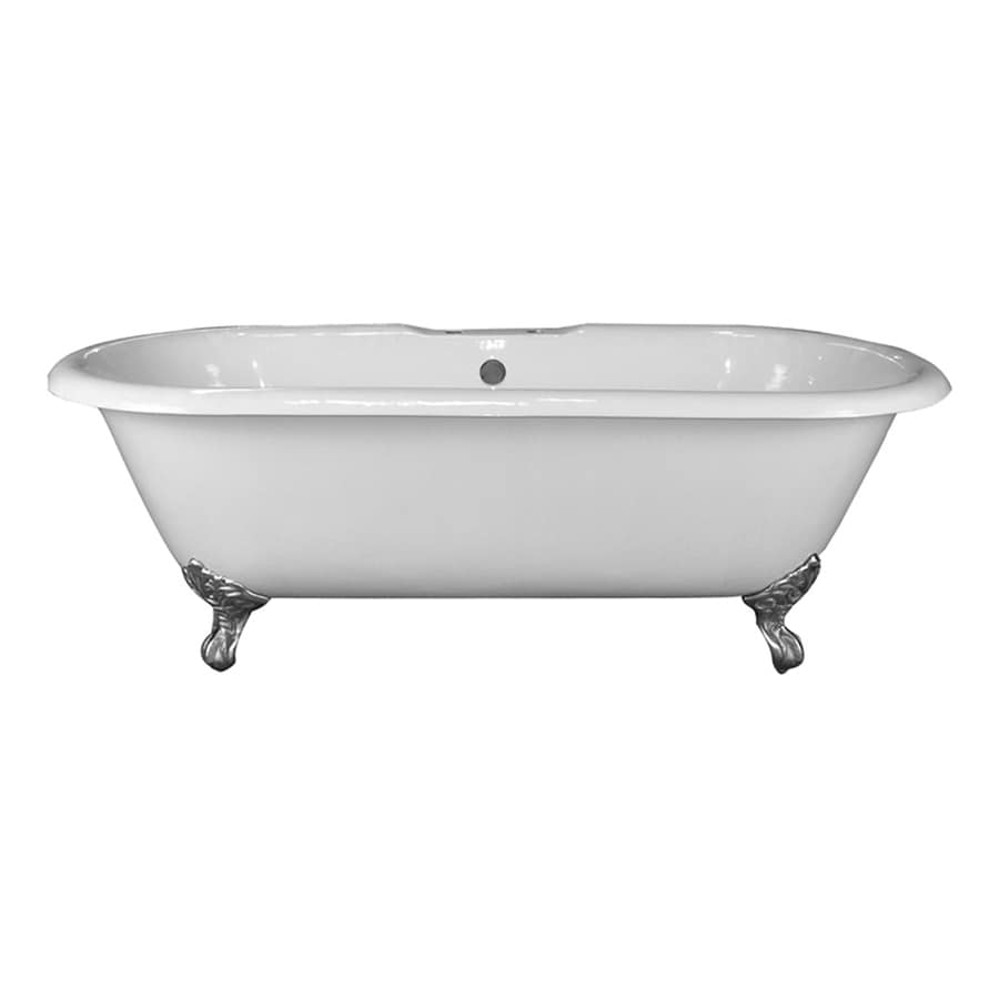 Barclay 67.75-in White Cast Iron Clawfoot Bathtub with Center Drain