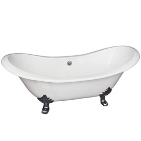 Barclay 30 5 In W X 71 In L White Cast Iron Oval Center Drain Clawfoot Soaking With Faucet In The Bathtubs Department At Lowes Com