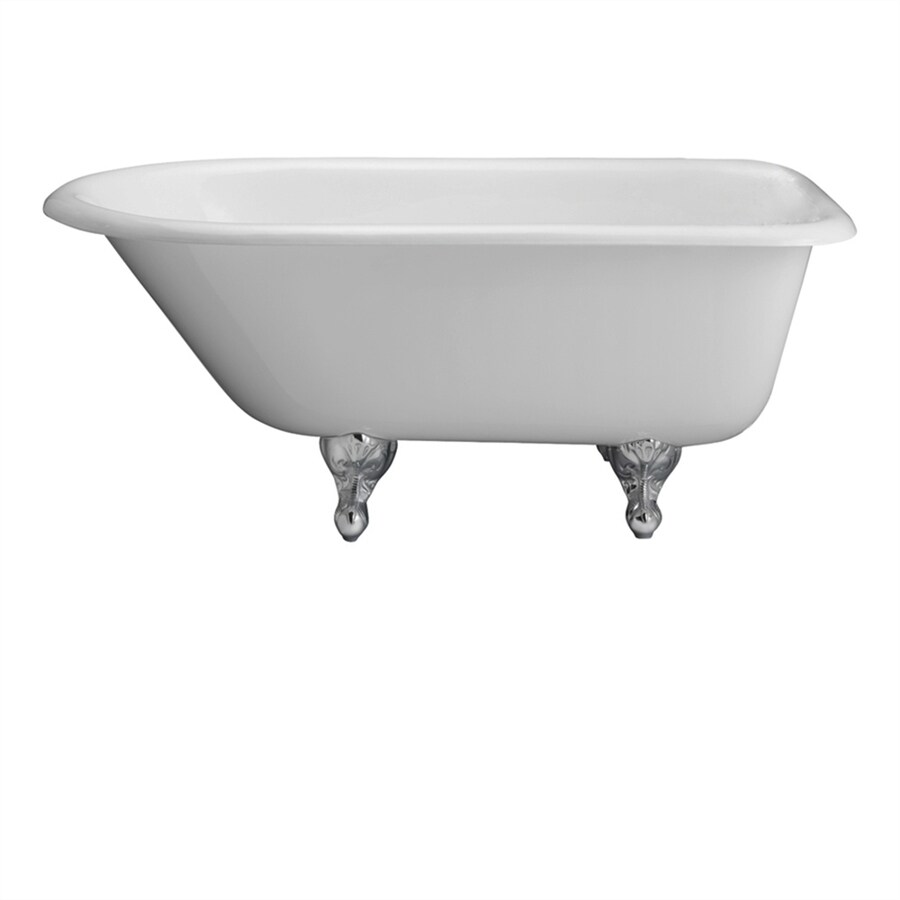 Shop Barclay 68 In White Cast Iron Clawfoot Bathtub With Back Center Drain At