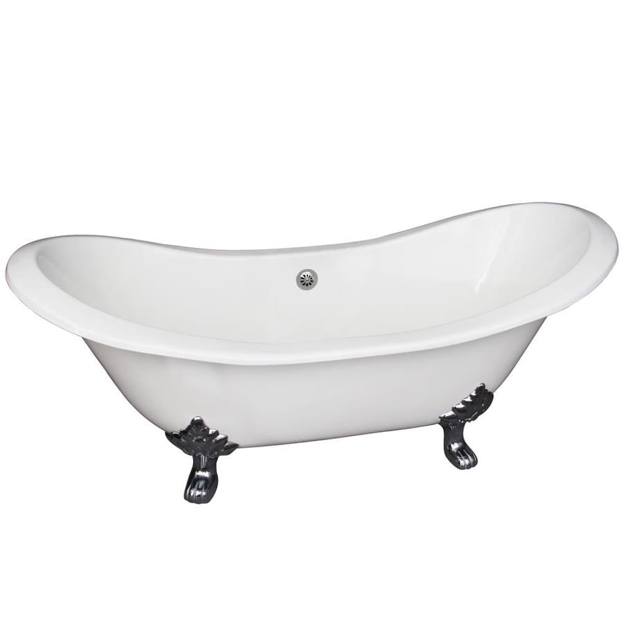 Shop Barclay 71 In White Cast Iron Clawfoot Bathtub With Center Drain At Lowe