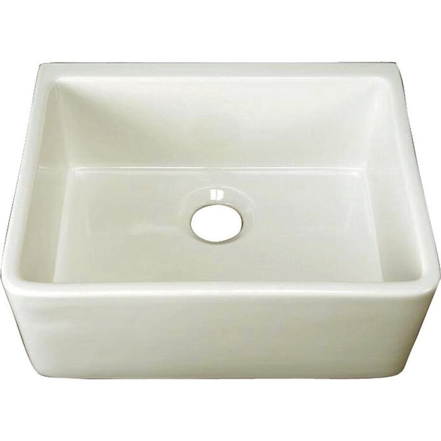 Shop Barclay White Single Basin Apron Front Farmhouse: Shop Barclay 23.37-in X 18.25-in Bisque Single-Basin