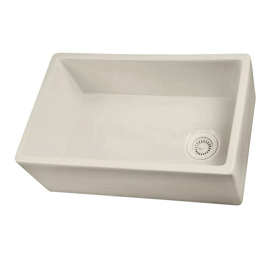 Barclay 17.5-in x 29.75-in Bisque Single-Basin Fireclay Apron Front/Farmhouse Residential Kitchen Sink