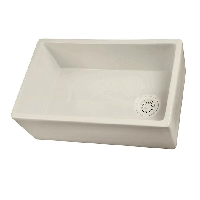 Barclay Farmhouse Apron Front 29 75 In X 17 87 Bisque Single Bowl Kitchen Sink The Sinks Department At Lowes Com