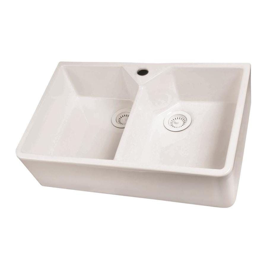 Barclay 19.5-in x 31.5-in White Double-Basin Fireclay Apron Front/Farmhouse Residential Kitchen Sink