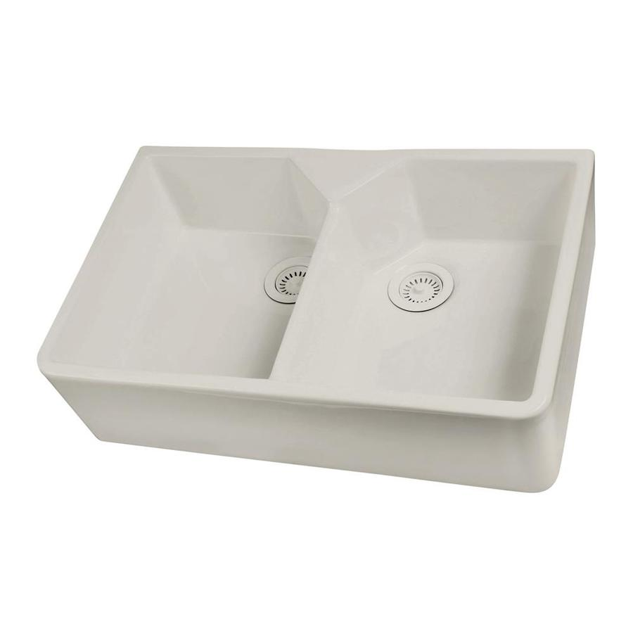 Barclay 19.5-in x 31.5-in Bisque Double-Basin Fireclay Apron Front/Farmhouse Residential Kitchen Sink