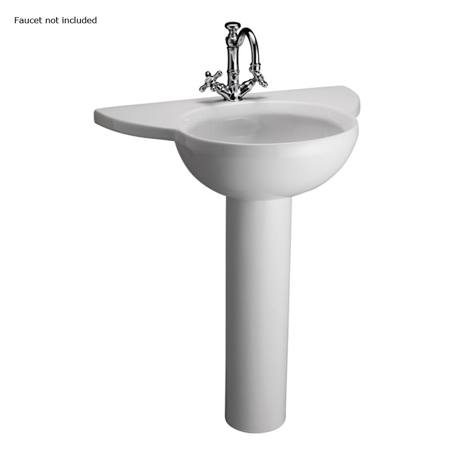 Barclay Alida 32.75-in H White Fire Clay Pedestal Sink