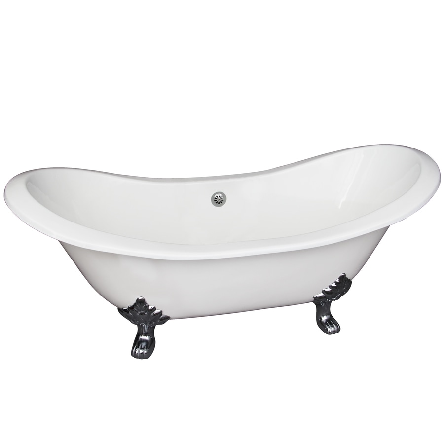 Barclay White Cast Iron Oval Clawfoot Bathtub with Center Drain (Common: 30-in x 72-in; Actual: 30.0-in x 30.5-in x 71.0-in)