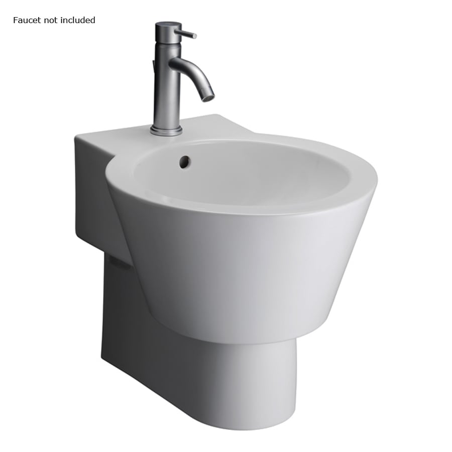 Barclay White Wall-Mount Round Bathroom Sink with Overflow