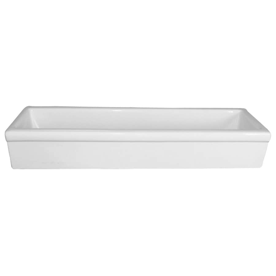 Barclay White Fire Clay Vessel Rectangular Bathroom Sink