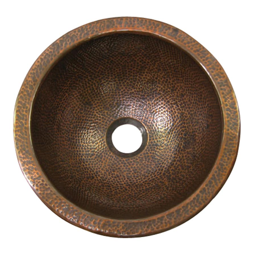 Hammered Undermount Bathroom Sink shop barclay hammered antique copper undermount round bathroom