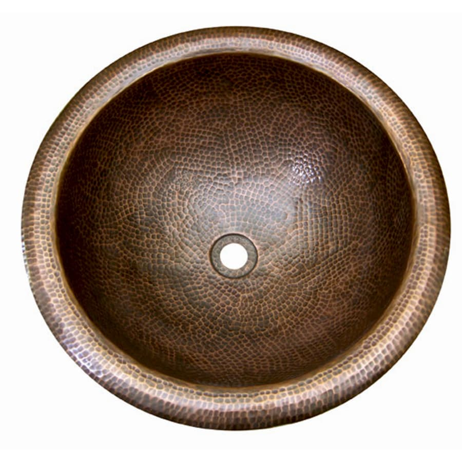 Barclay Hammered Antique Copper Copper Drop-in Round Bathroom Sink with Overflow