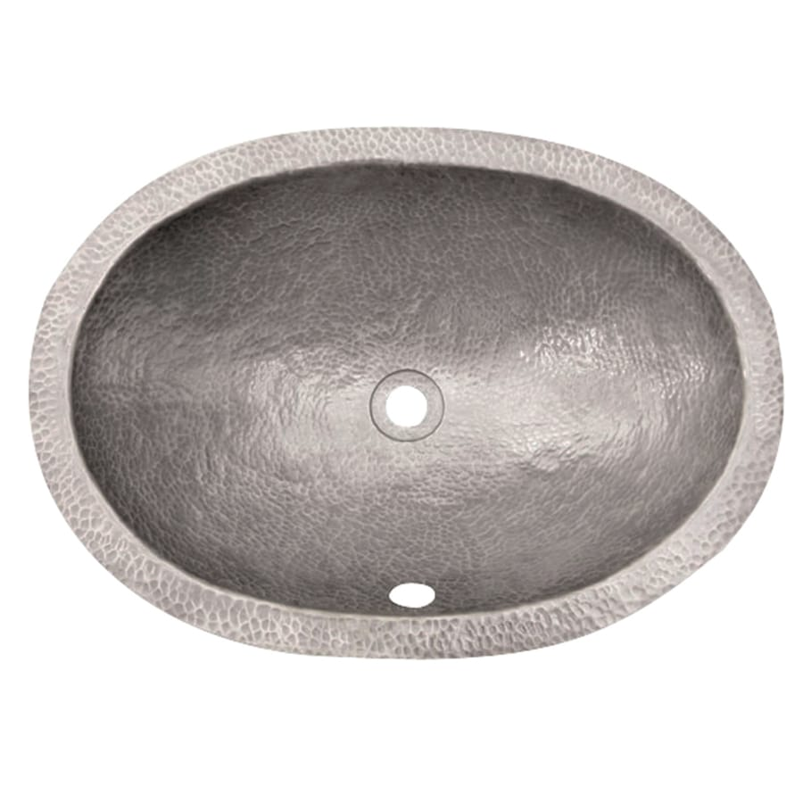 Hammered Undermount Bathroom Sink shop barclay hammered pewter copper undermount oval bathroom sink
