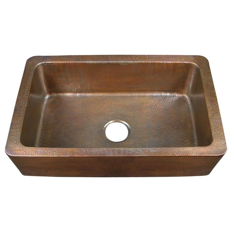 Shop barclay x hammered antique copper single basin copper apron front - Kitchen sinks apron front ...