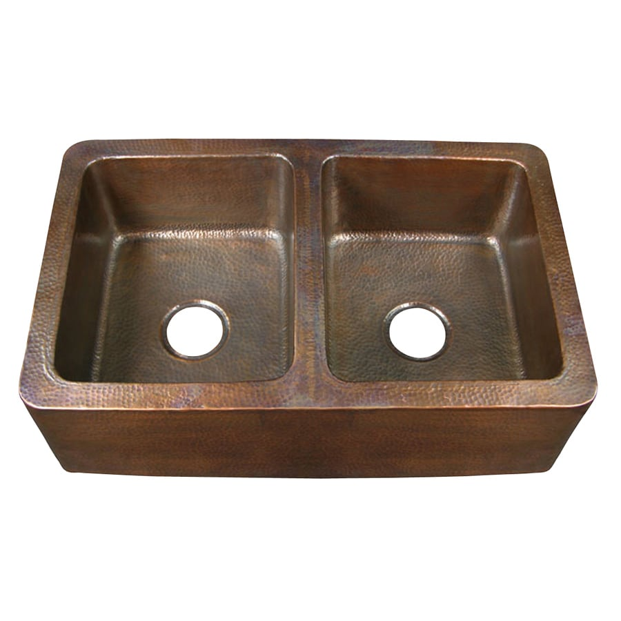 Shop Barclay 21-in x 34-in Hammered Antique Copper Double-Basin ...