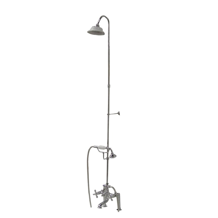 Barclay Brilliant Polished Chrome 3-Handle Bathtub and Shower Faucet with Multi-Head Showerhead