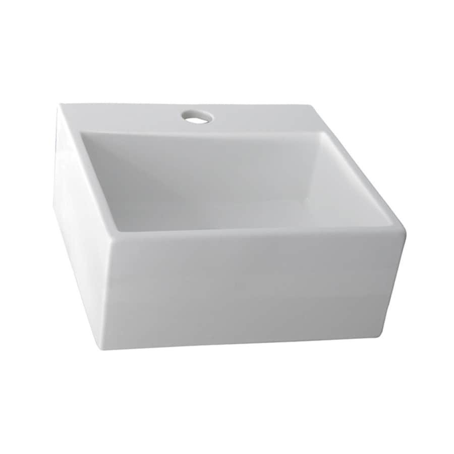 Barclay White Fire Clay Vessel Square Bathroom Sink