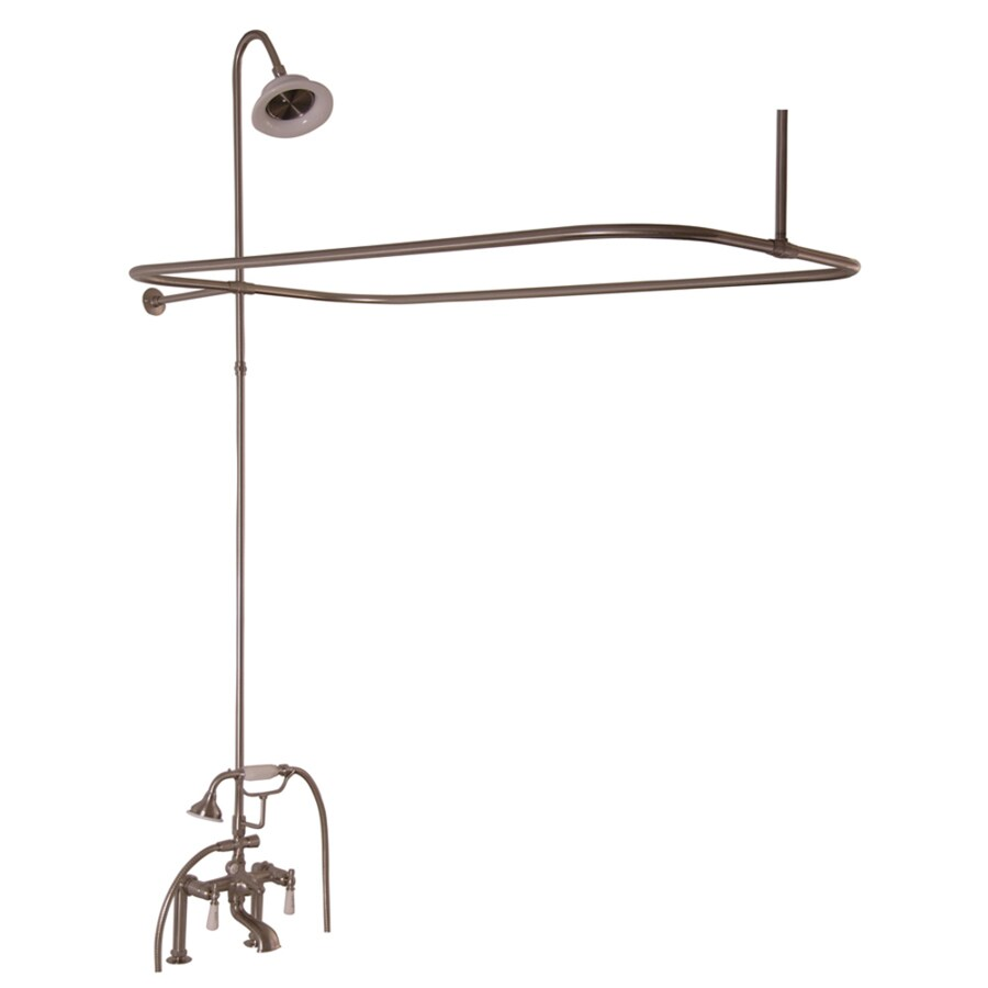 Barclay Brushed Nickel 3-Handle Bathtub and Shower Faucet with Single Function Showerhead