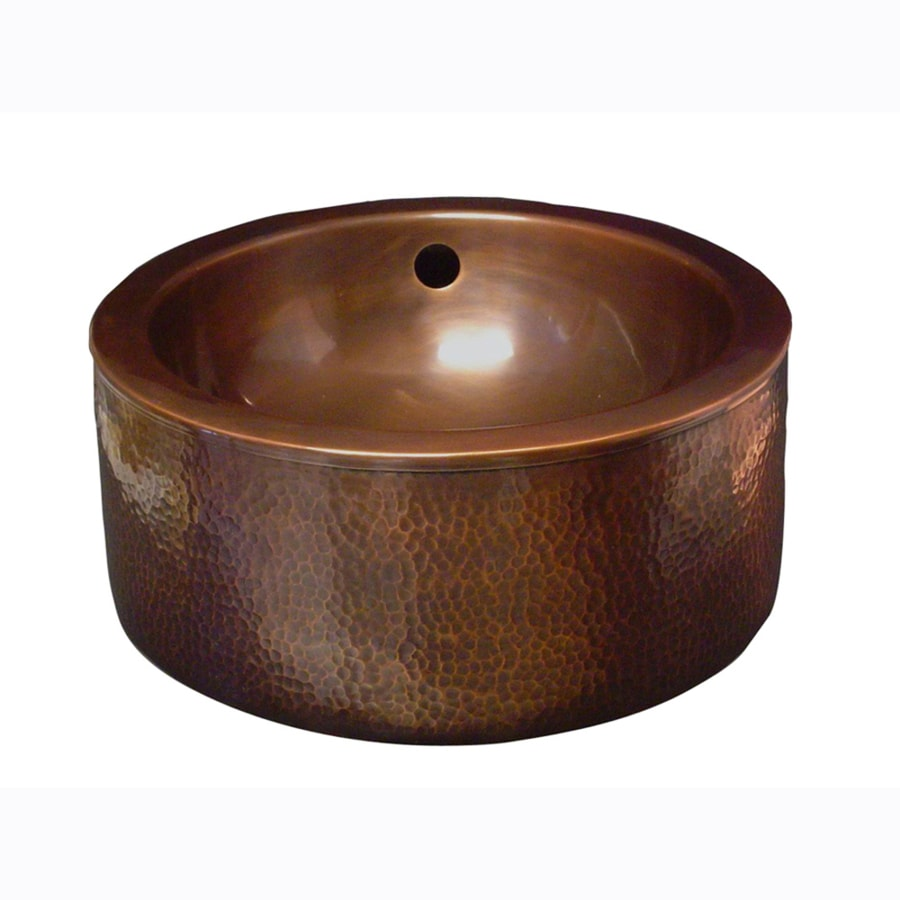 Charmant Barclay Hammered Antique Copper Vessel Round Bathroom Sink With Overflow
