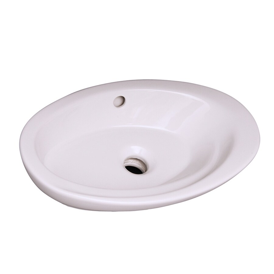Barclay Infinity White Drop-In Oval Bathroom Sink with Overflow