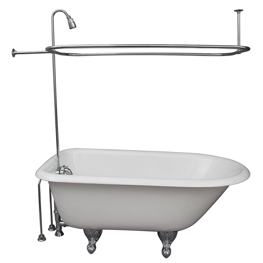 Shop Barclay 55 5 In White Cast Iron Clawfoot Bathtub With Back Center Drain